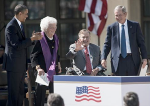 President Obama honors President George H.W. Bush.