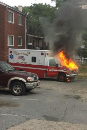 d.c. ambulance on fire